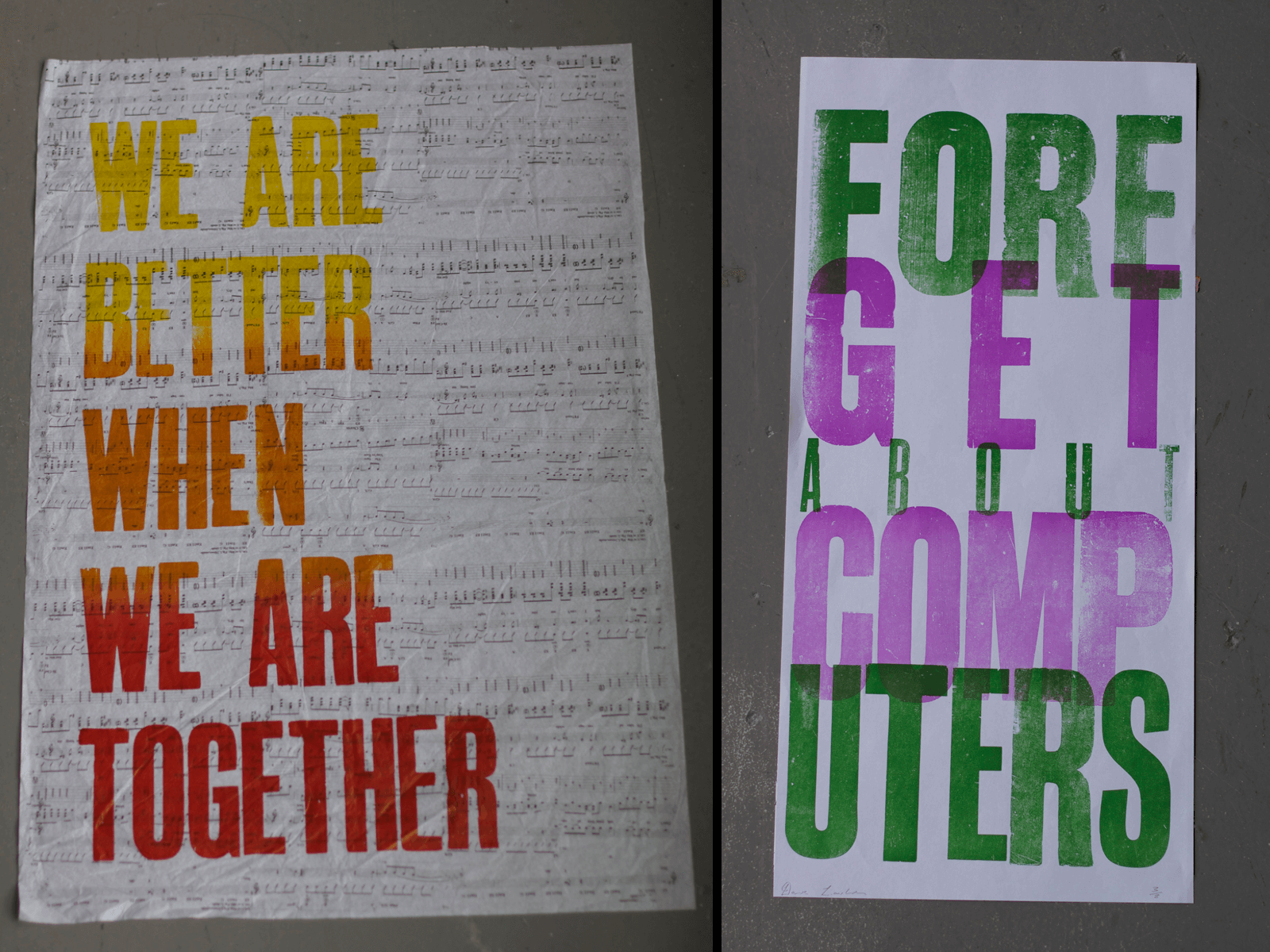 Various Letterpress Posters, Printed at Distillars Press at the National Colledge of Art and Design, Dublin.
